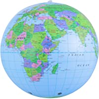Toddmomy 1PCS Inflatable Globe PVC World Globe Earth Map Educational Beach Playing Ball Toy