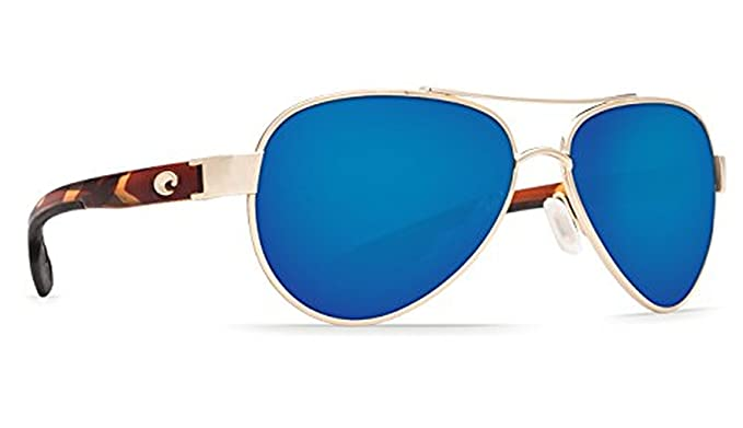 c70b41bfd0122 Costa Del Mar LR 64 Loreto Rose Gold Square Sunglasses for Mens - Size 400G  (Blue Mirror Lens)  Amazon.co.uk  Clothing