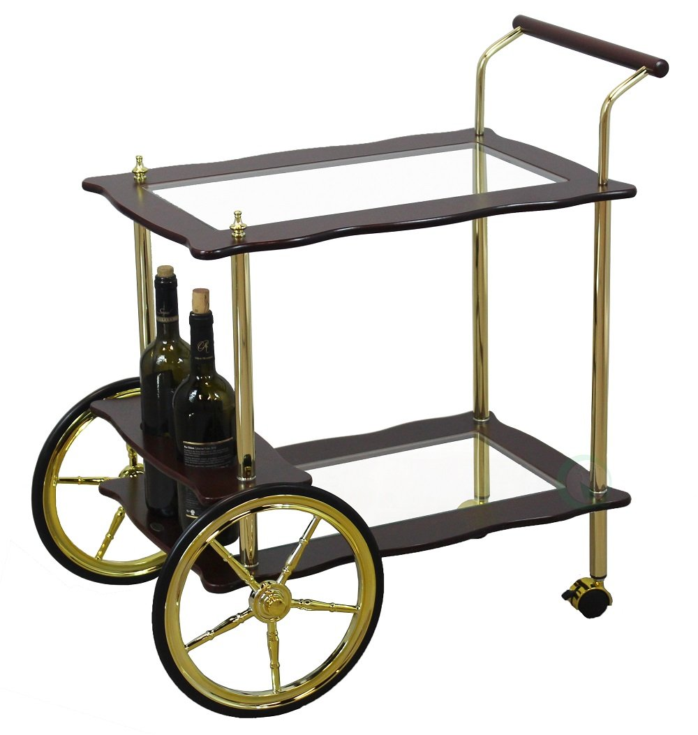 Uniquewise QI003165 2-Tier Brass-Wood Serving Tea Cart with Clear Tempered Glass Quickway Imports