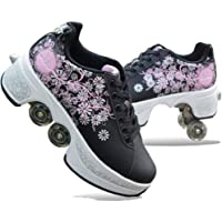 Roller Shoes Skate, Wheel Shoes Roller Sneakers Shoes, Invisible Pulley Roller Shoes Double-Row Deform Wheel Skating