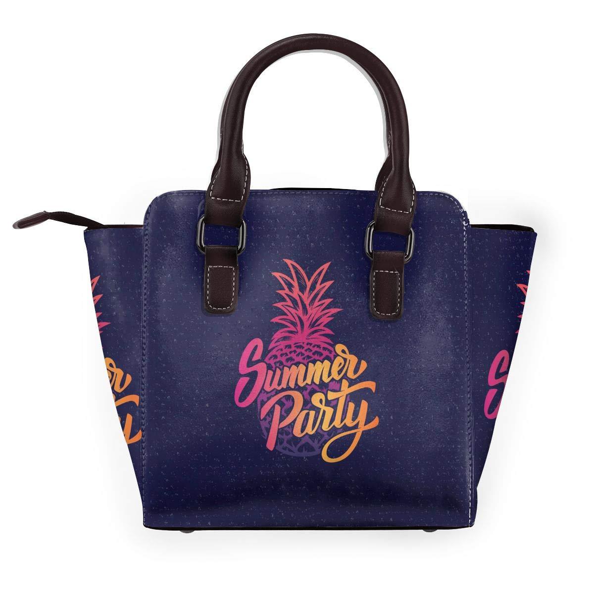 PINEAPPLE TREND dammode äkta läder nit axelväska flickor resa skola mini handväska Enjoy Summer Pineapple2