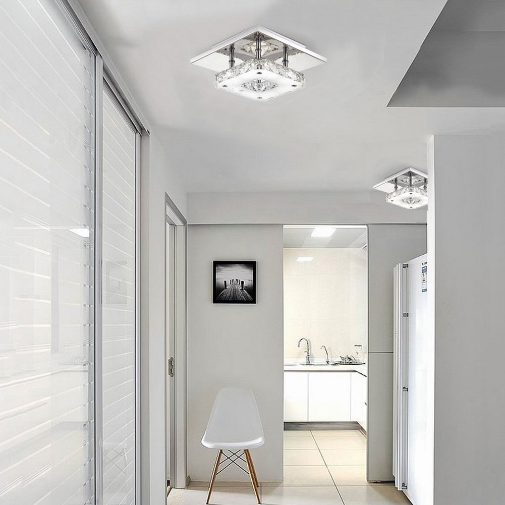 Amazon fuloon 12w modern crystal led ceiling light pendant amazon fuloon 12w modern crystal led ceiling light pendant flush lamp stainless steel chandelier decor perfect for hallway stairway bedroomdining audiocablefo