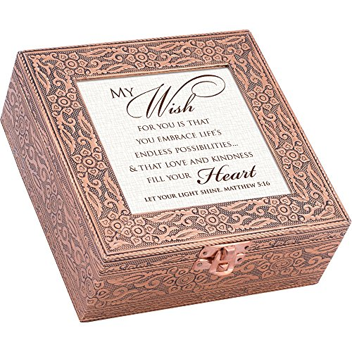 My Wish Embrace Life's Love Copper Stamped Metal Jewelry Music Box Plays song We Have a Friend in Jesus