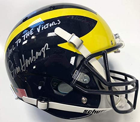 27903f3355e Image Unavailable. Image not available for. Color  Jim Harbaugh Signed  Michigan Wolverines Full Size Helmet Beckett Witness Coa - Beckett  Authentication