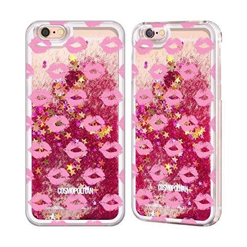 Official Cosmopolitan Hot Pink Kiss Mark Hot Pink Liquid Glitter Case Cover for Apple iPhone 6 / 6s