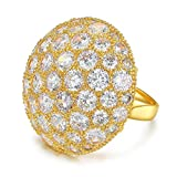Serend Austrian Crystal 18k Yellow Gold Plated Disco Ball Party Cocktail Rings Large, Size 9
