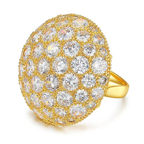 Serend Austrian Crystal 18k Yellow Gold Plated Disco Ball Party Cocktail Rings Large, Size (Crystal Cocktail Ring)