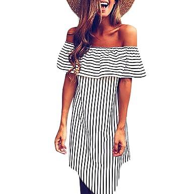 b0eb0319b5a Mini Dress Floral,Womens Off Shoulder Striped Irregular Dress Bodycon Beach  Party Mini Dress,