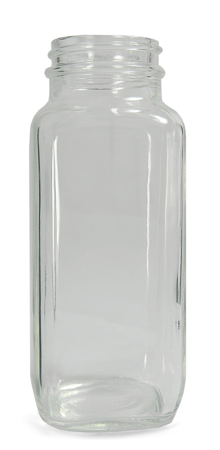 8oz Capacity Qorpak GLA-00831 Clear Glass Wide Mouth French Square Bottle with 43-400 Neck Finish 51mm Diameter x 137mm Height Case of 84