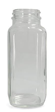 Qorpak Botella de cristal de boca ancha con acabado de cuello, transparente, transparente,