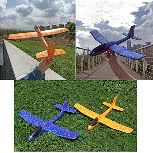 ONEGenug 2pcs Airplane Outdoor Sports Toy, Manual throwing, Model Foam Glider Outdoor Fun, Blue & Orange Color, Upgrade Large Size by ONEGenug (Image #2)