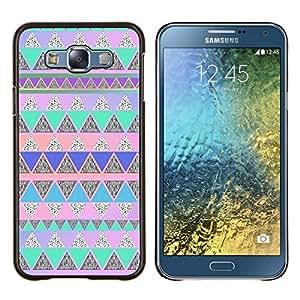 Polígono Azul Rosa nativos americanos- Metal de aluminio y de plástico duro Caja del teléfono - Negro - Samsung Galaxy E7 / SM-E700