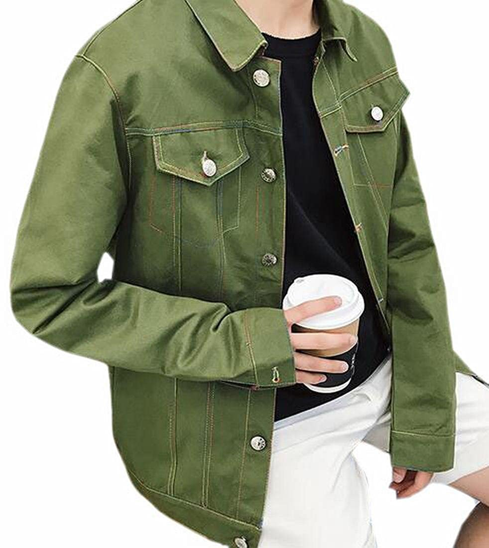 Amazon.com: Generic hombre botón frontal Denim Jean jacket ...