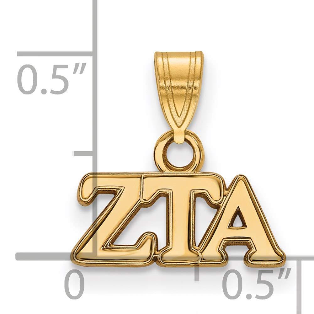Lex /& Lu LogoArt Gold Plated Sterling Silver Zeta Tau Alpha Small Pendant LAL156301