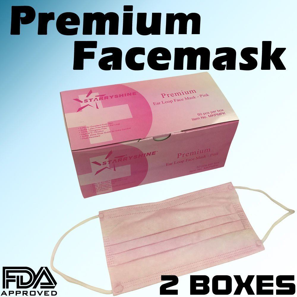 3-Ply Premium Dental Surgical Medical Disposable Earloop Face Masks (FDA Approved) (100 PCS/2 Boxes, Pink) by Starryshine (Image #6)