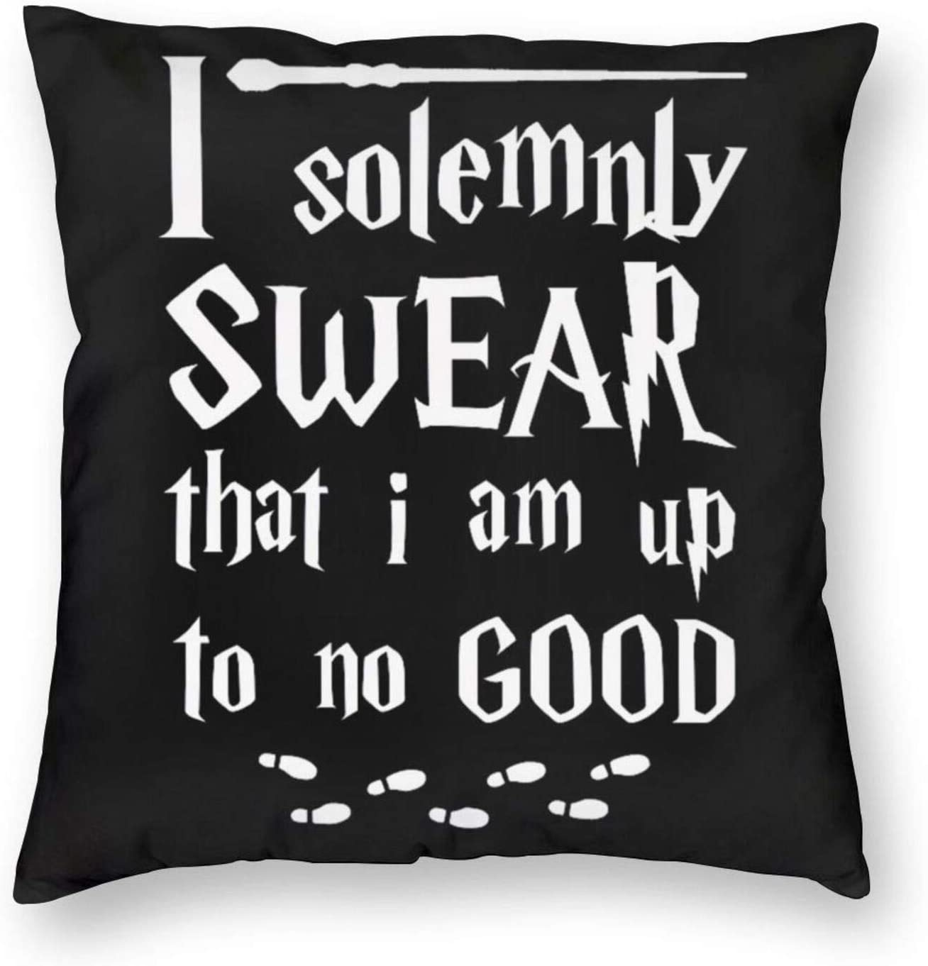antcreptson I Solemnly Swear That I Am Up to No Good Throw Pillow Case Cushion Cover for Sofa Couch Living Room Home Decor - Vintage Pillow Case for Book Lover/Bookworm/Librarian(18 x 18 Inch)