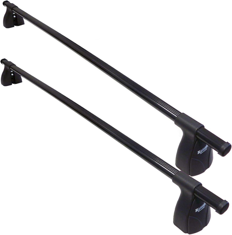 Set of 2 Summit SUP-07256S Premium Multi Fit Lockable Roof Bars Black Steel