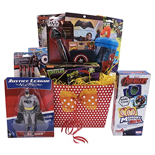 Valentine-Gift-Baskets-10-Items-For-Kids-Includes-Avengers-Superman-Spiderman-Toys-Playing-Cards-Ultimate-Superhero-Fun-Games