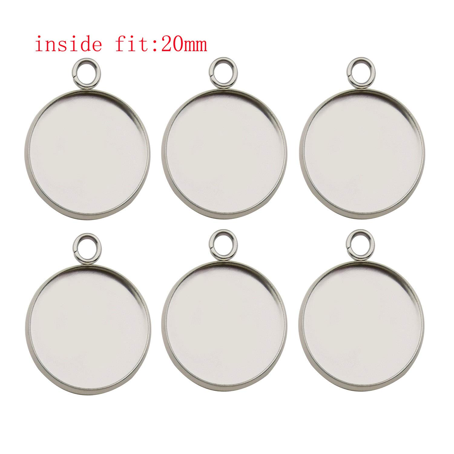 50pcs Fit 12mm Stainless Steel Round Blank Bezel Pendant Trays Base Cabochon Settings Trays Pendant Blanks for Jewelry Making DIY Findings 12mm-50pcs