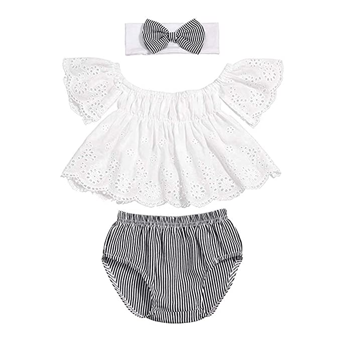 2cc85413ded9 Newborn Infant Baby Girls Shorts Outfits Set Ruffle Off-Shoulder T-Shirt  Top +
