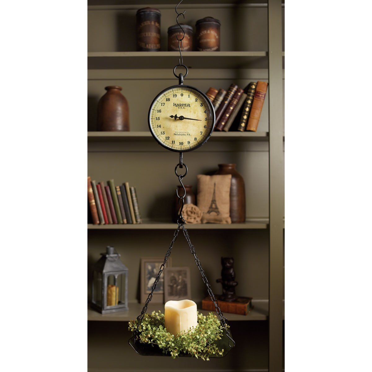 Farmhouse Decorating Style with a Hanging Scale