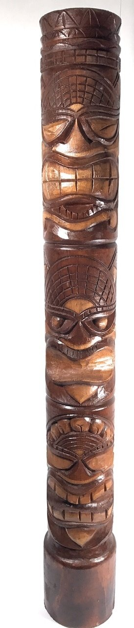 Happy, Love & Prosperity Tiki Totem 60'' Antique Finish - Hand Carved | #dpt5378150 by Tikimaster