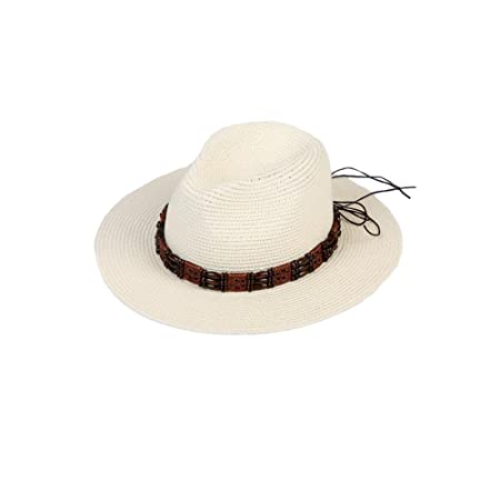 17d42fd08a8 DALL Bucket Hats LY-235 Retro Beaded Men s Cool Hat Visor Hat Sun Cap Straw  Hat Beach Hat Beach Fishing Cycling (Color   White)  Amazon.co.uk  Kitchen    ...