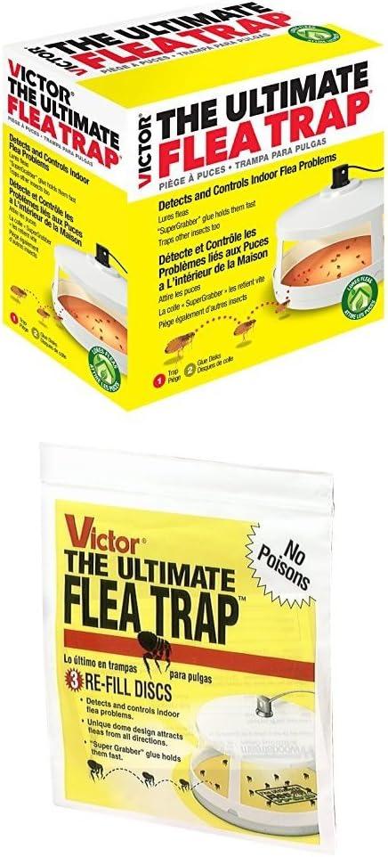 Victor M230A Ultimate Flea Trap WITH Victor M231 Ultimate Flea Trap Refills, 3 Per Pack