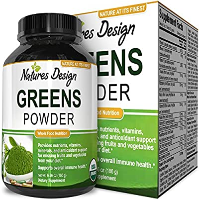 Superfood Greens Powder – Healthy Organic Blend – Energy Boost Supplement – Natural Gluten Free Dairy Free – Boost Immunity And Energy with Acai + Goji Berries & Green Tea + Kelp By Natures Design