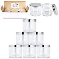 Beauticom 10 oz. (300g /300ML) Thick Wall Round Leak Proof Clear Acrylic Jars with...