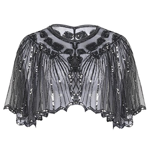 Kayamiya Womens Evening Shawl Wraps 1920s Sequin Beaded Cape Cover Up Gray
