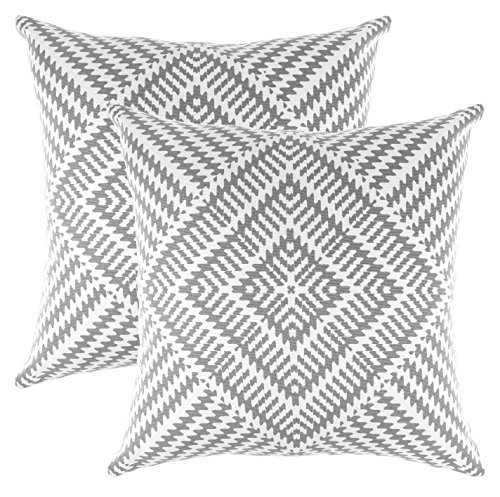 TreeWool Decorative Square Throw Pillow Covers Set Kaleidoscope Accent 100% Cotton Cushion Cases Pillowcases (22 x 22 Inches / 55 x 55 cm; Sleet Grey & White) - Pack of 2