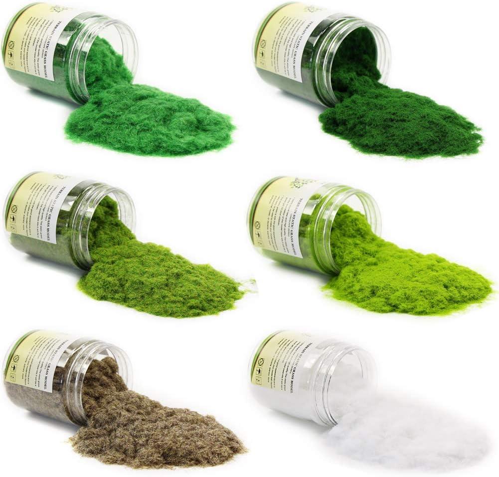CFA5 6X 35g Mixed 2mm Static Grass Terrain Powder Green Fake Grass Fairy Garden Miniatures Landscape Artificial Sand Table Model Railway Layout