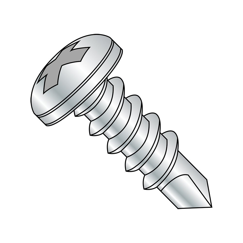 Steel Self-Drilling Screw #8-18 Thread Size Phillips Drive Small Parts 0864KPP Pack of 1000 Pack of 1000 Zinc Plated Finish 4 Length #2 Drill Point 4 Length Pan Head