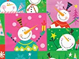 Pack of 1, Colorblock Snowman 24'' x 417' Half Ream Roll Gift Wrap for Holiday, Party, Kids' Birthday, Wedding & Special Occasion Packaging
