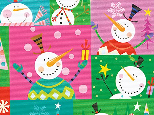 Pack of 1, Colorblock Snowman 24'' x 417' Half Ream Roll Gift Wrap for Holiday, Party, Kids' Birthday, Wedding & Special Occasion Packaging by Generic