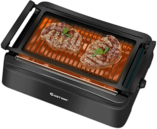 Five Speed Thermostat Electric Smokeless Indoor Grill Digital Temperature Control Kitchen Indoor Barbecue Portable