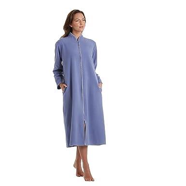 Ladies Polar Fleece Zip Front Dressing Gown Sizes 10-24: Amazon.co ...