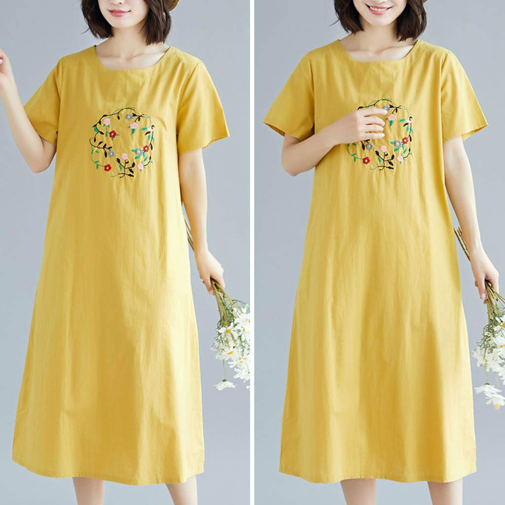 Yellsong Loose Embroidery Dress,Retro Casual Embroidery Loose Cotton Linen O Neck Sleeve Dress Women Plus Size Dresses Short Sleeve Cold Shoulder Casual T-Shirt Swing Dress with Pockets by Yellsong-Clothing (Image #5)