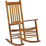 Outsunny Versatile Wooden Indoor/Outdoor High Back Slat Rocking Chair - Natural Wood