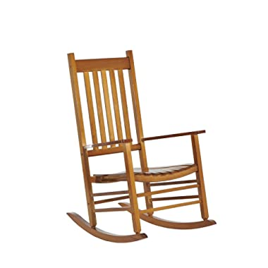 Outsunny Porch Rocking Chair - Outdoor Patio Wooden Rocking Chair - Natural Color