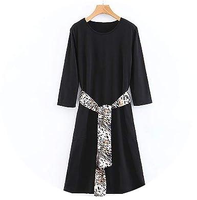 sale retailer 02661 c6bf5 Women Black Dress Office Lady Dresses with Leopard Belt ...