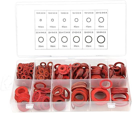 Assortiment de Fibres Assortiment BiuZi 600Pcs 12 Tailles Passe-fils D/étanch/éit/é Set Kit Dassortiment de Rondelle Isolante en Papier Acier Rouge Avec Bo/îte