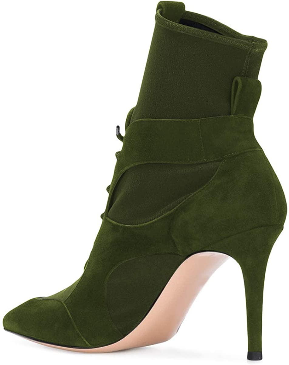 YDN Women Lace Up Ankle Boots Pointed Toe Stiletto High Heel Suede Winter Dress Booties