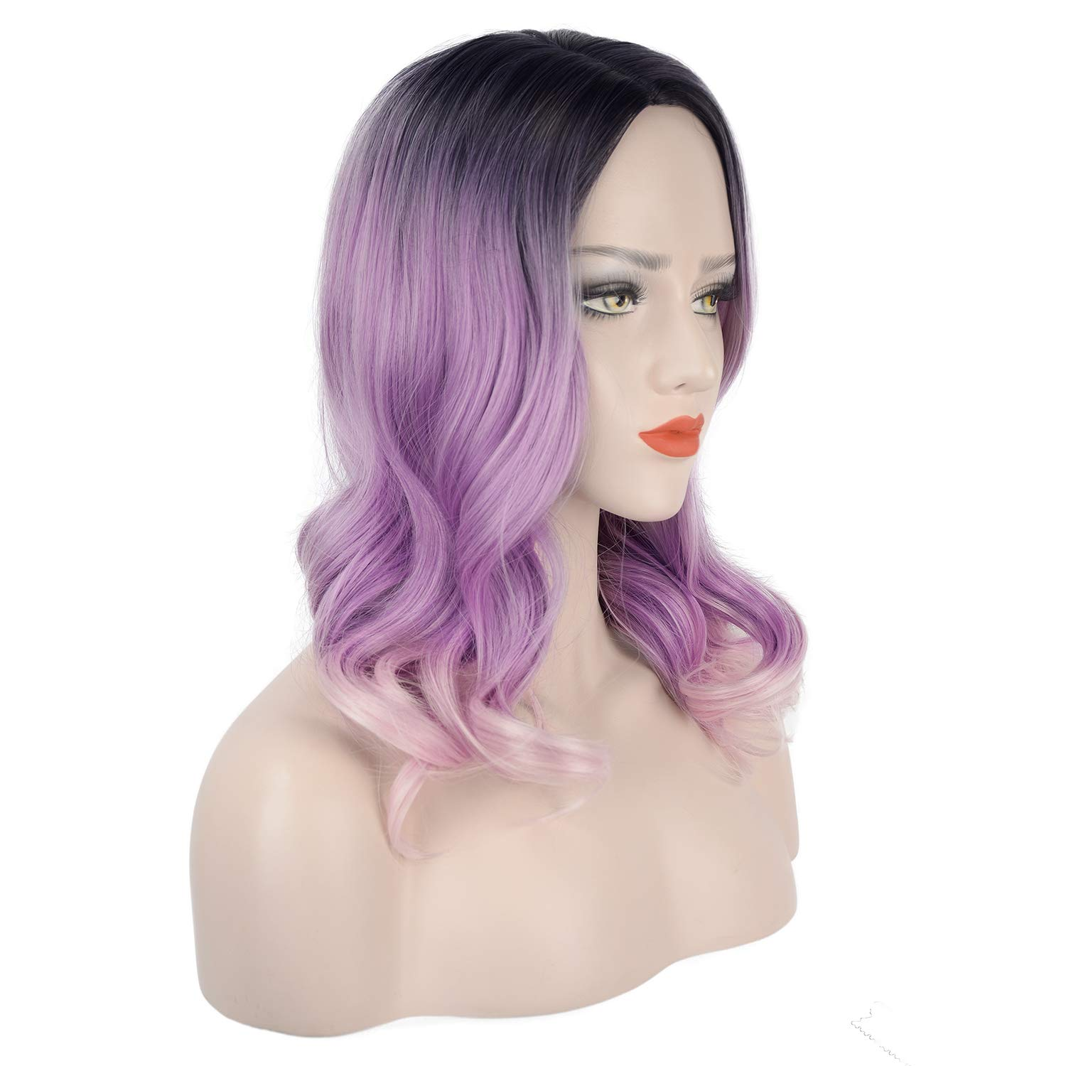 FESHFEN Long Natural Curly Wavy Synthetic Wigs Ombre Lilac to Light Pink Wig with Dark Roots Right-Side Parting Heat Resistant Replacement Wig for Women 18 Inch