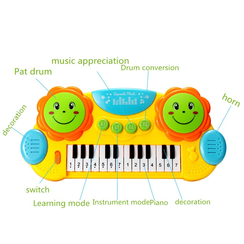 Shisay Sound and Light Music Education Keyboard 24-Key Childhood Education Multi-function Electronic Instrument Pat Drum Toy Infant Early Educational Gifts 3 year and up (24-Key Piano) by Shisay (Image #3)