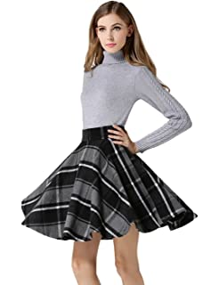 db2773a8a3 Tanming Women's Casual High Waisted Wool Check Print Plaid A-Line Skirt