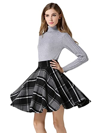 e7c52c968 Tanming Women's High Waisted Wool Check Print Plaid Aline Skirt (X-Small,  Gray