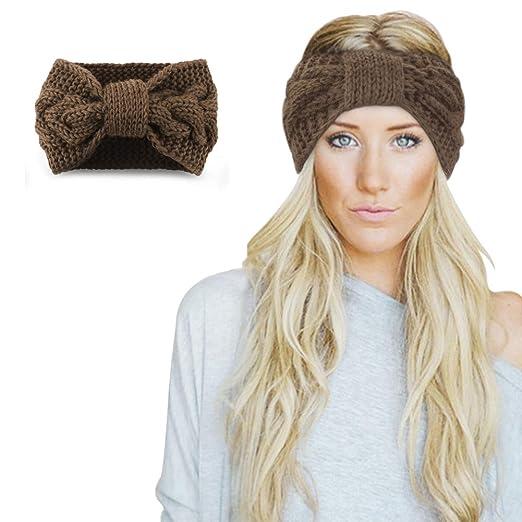 06e407d02afc2 Womens Winter Knitted Headband - Crochet Twist Hair Band Headwrap Hat Cap  Ear Warmer (Black