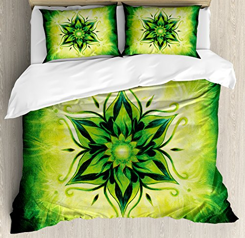Ambesonne Lotus Duvet Cover Set Queen Size, Psychedelic Floral Mandala Ethnic Meditation Mystic Sacred Digital Image, Decorative 3 Piece Bedding Set with 2 Pillow Shams, Emerald Lime Green